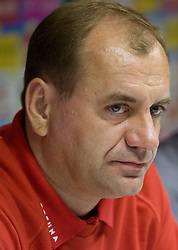 Head coach  of Slovakian National football team Vladimir Weiss at the press conference a day before FIFA World Cup Qualifications match between Slovakia and Slovenia, on October 09, 2009, in Tehelne Pole Stadium, Bratislava, Slovakia.  (Photo by Vid Ponikvar / Sportida)