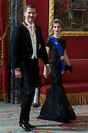 King Felipe VI of Spain and Queen Letizia of Spain attended a Gala Dinner in honour of Chilean President during her State Visit at Palacio Real on October 29, 2014 in Madrid