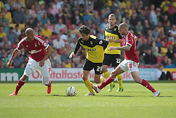 Watford's Diego Fabbrini is challenged by Nottingham Forest's Henri Lansbury and Nottingham Forest's Adlene Guedioura  - Photo mandatory by-line: Nigel Pitts-Drake/JMP - Tel: Mobile: 07966 386802 25/08/2013 - SPORT - FOOTBALL -Vicarage Road Stadium - Watford -  Watford v Nottingham Forest - Sky Bet Championship