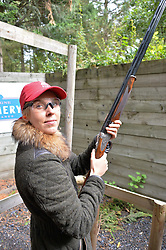 Victoria Dashwood at Young Guns raising money for the fight against breast cancer trough Cancer Research UK held at EJ Churchill Shooting School followed by lunch at West Wycombe Park, England. 23 September 2017.