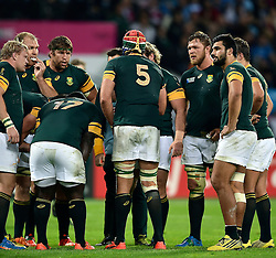 Victor Matfield of South Africa speaks to his team during a break in play - Mandatory byline: Patrick Khachfe/JMP - 07966 386802 - 30/10/2015 - RUGBY UNION - The Stadium, Queen Elizabeth Olympic Park - London, England - South Africa v Argentina - Rugby World Cup 2015 Bronze Final.