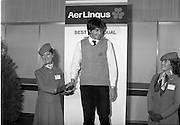 07/01/1983.01/07/1983.7th January 1983.The Aer Lingus Young Scientist Exhibition at the RDS, Dublin...Timothy Hickey from Colaiste De La Salle, Macroom, Co. Cork, winner of the Individual project- 'Ecological Study to Save the Garragh - A Rare Freshwater Habitat' with staff members from Aer Lingus. ..