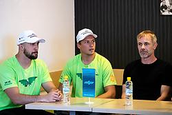 Aleksandar Magovac, Tadej Cimzar and head coach Ivo Jan at press conference of HK SZ Olimpija before new season 2020-21, on June 22, 2020 in Hala Tivoli, Ljubljana, Slovenia. Photo by Matic Klansek Velej / Sportida