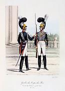 Officer and Rifleman of the King's Guard  in Palace duty dress, 1820-1830. 'Histoire de la maison militaire du Roi de 1814 a 1830' by Eugene Titeux, Paris, 1890.