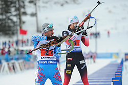 February 8, 2019 - Calgary, Alberta, Canada - Garanichev Evgeniy is at the shooting range during Men's Relay of 7 BMW IBU World Cup Biathlon 2018-2019. Canmore, Canada, 08.02.2019 (Credit Image: © Russian Look via ZUMA Wire)