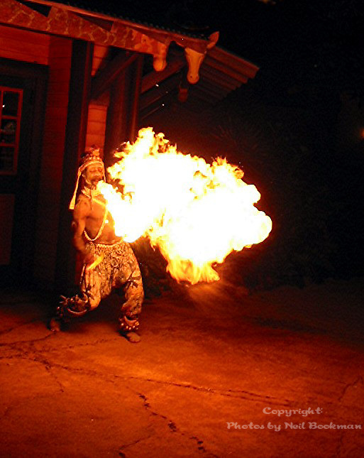 A fire eater does his thing.