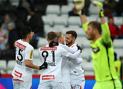 24.02.2018, BSFZ Arena, Maria Enzersdorf, AUT, 1. FBL, FC Flyeralarm Admira vs FK Austria Wien, 24. Runde, im Bild Torjubel Tarkan Serbest (FK Austria Wien), , Stefan Stangl (FK Austria Wien), Kevin Friesenbichler (FK Austria Wien) und Michael Madl (FK Austria Wien) // during Austrian Bundesliga Football 24nd round match between FC Flyeralarm Admira vs FK Austria Wien at the BSFZ Arena, Maria Enzersdorf, Austria on 2018/02/24. EXPA Pictures © 2018, PhotoCredit: EXPA/ Thomas Haumer