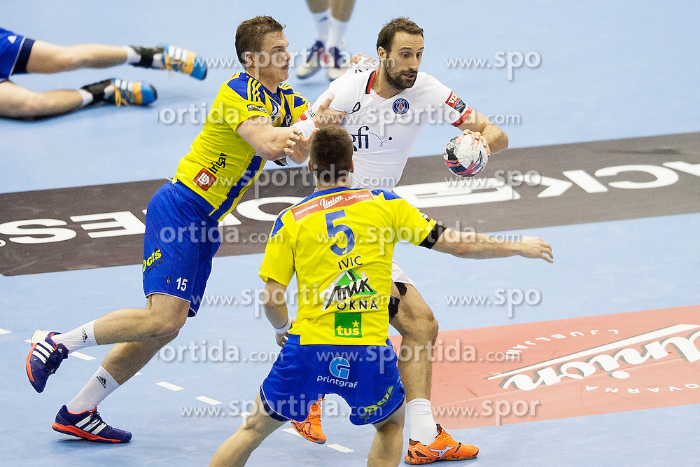 Vid Poteko of RK Celje Pivovarna Lasko and Igor Vori of Paris Saint-Germain during handball match between RK Celje Pivovarna Lasko (SLO) and Paris Saint-Germain (FRA) in Round #5 of Group Phase of EHF Champions League 2015/16, on October 18, 2015 in Arena Zlatorog, Celje, Slovenia. Photo by Urban Urbanc / Sportida
