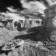 North Hoodoo Stacks - Bisti Badlands - New Mexico - Black & White