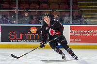 KELOWNA, BC - JANUARY 16: Kale Clouston #19 of the Moose Jaw Warriors warms up against the Kelowna Rockets  at Prospera Place on January 16, 2019 in Kelowna, Canada. (Photo by Marissa Baecker/Getty Images)