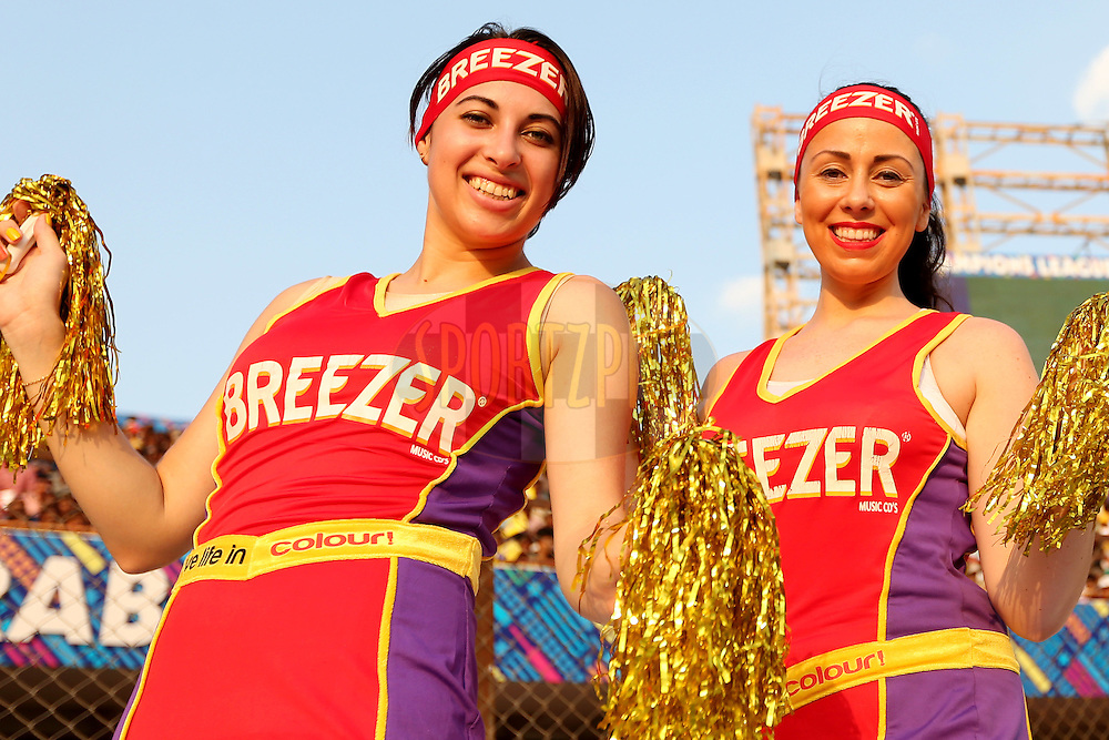 Breezer CLT20 dancers during the first semi final match of the Oppo Champions League Twenty20 between the Kolkata Knight Riders and the Hobart Hurricanes held at the Rajiv Gandhi Cricket Stadium, Hyderabad, India on the 2nd October 2014. Photo by:  Jacques Rossouw / Sportzpics/ CLT20<br /> <br /> <br /> Image use is subject to the terms and conditions as laid out by the BCCI/ CLT20.  The terms and conditions can be downloaded here:<br /> <br /> http://sportzpics.photoshelter.com/gallery/CLT20-Image-Terms-and-Conditions-2014/G0000IfNJn535VPU/C0000QhhKadWcjYs