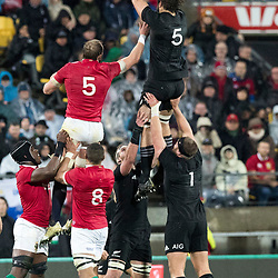 Samuel Whitelock  during game 9 of the British and Irish Lions 2017 Tour of New Zealand, the second Test match between  The All Blacks and British and Irish Lions, Westpac Stadium, Wellington, Saturday 1st July 2017<br /> (Photo by Kevin Booth Steve Haag Sports)<br /> <br /> Images for social media must have consent from Steve Haag