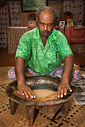 Tui Talili preparing kava for guests at Bulou's Eco Lodge, Navala Village, Viti Levu Island, Fiji.