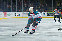 KELOWNA, CANADA - JANUARY 25:  Lassi Thomson #2 of the Kelowna Rockets skates with the puck against the Victoria Royals on January 25, 2019 at Prospera Place in Kelowna, British Columbia, Canada.  (Photo by Marissa Baecker/Shoot the Breeze)