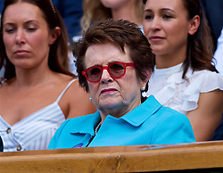 LONDON, ENGLAND - Saturday, July 7, 2018: Billy Jean King in the Royal Box before the Gentlemen's Singles 3rd Round match on day six of the Wimbledon Lawn Tennis Championships at the All England Lawn Tennis and Croquet Club. (Pic by Kirsten Holst/Propaganda)