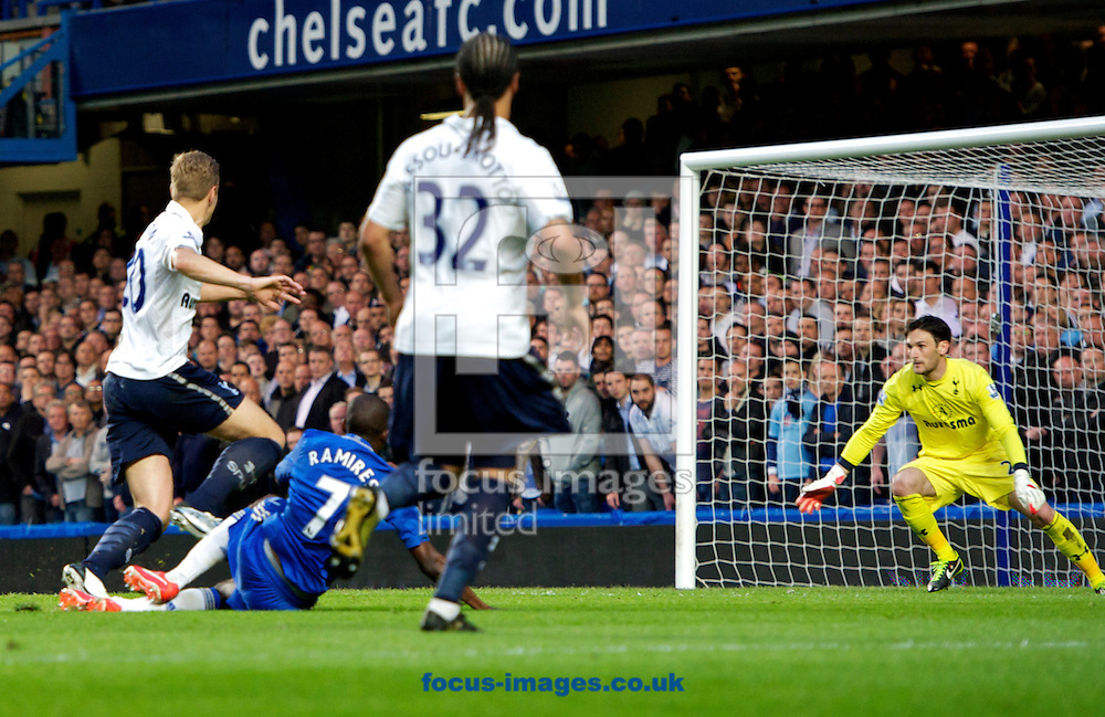 Picture by Alan Stanford/Focus Images Ltd +44 7915 056117.08/05/2013.Ramires of Chelsea scores their 2nd goal to make it 2-1  during the Barclays Premier League match at Stamford Bridge, London..
