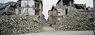 23 August 2016, Amatrice Italy. One month later of the earthquake a general view of the rubble inside the red zone of the small village of Amatrice.