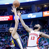 25 January 2016: Jump ball between Utah Jazz center Rudy Gobert (27) and Detroit Pistons forward Marcus Morris (13) during the Detroit Pistons 95-92 victory over the Utah Jazz, at the Vivint Smart Home Arena, Salt Lake City, Utah, USA.