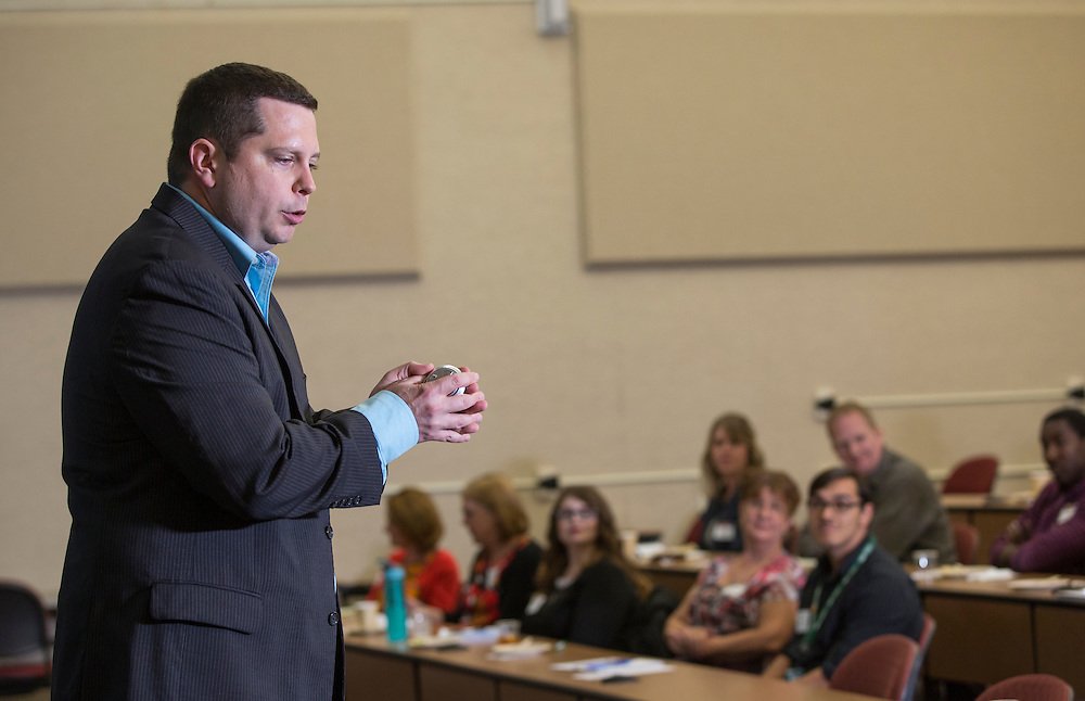 Dan Farkas, an instructor in Ohio University's Scripps College of Communication, speaks during the Marketing Symposium on November 2, 2016.