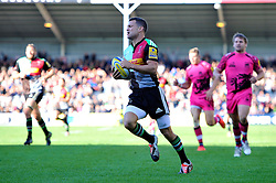 Karl Dickson of Harlequins runs in a try - Photo mandatory by-line: Patrick Khachfe/JMP - Mobile: 07966 386802 04/10/2014 - SPORT - RUGBY UNION - London - The Twickenham Stoop - Harlequins v London Welsh - Aviva Premiership