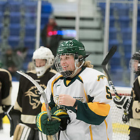 2nd year forward Jaycee Magwood (5) of the Regina Cougars in action during the Women's Hockey home game on January 7 at Co-operators arena. Credit: Arthur Ward/Arthur Images