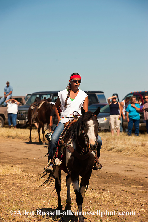 Fort Belknap Indian Reservation, Montana, Milk River Memorial Horse Races, women riders.