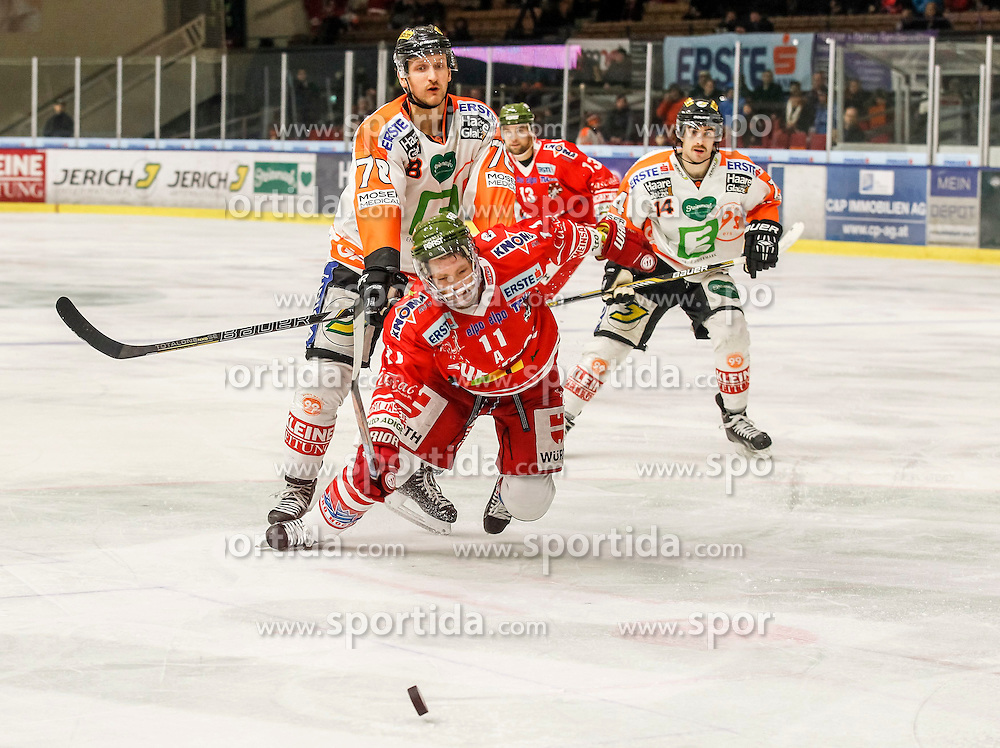 17.02.2015, Eisstadion Liebenau, Graz, AUT, EBEL, Moser Medical Graz 99ers vs HCB Suedtirol, 48. Runde, im Bild Philipp Pinter (Moser Medical Graz 99ers) und Mark Cullen (HCB Südtirol) // Philipp Pinter (Moser Medical Graz 99ers) and Mark Cullen (HCB Südtirol) during the Erste Bank Icehockey League 48th Round match between Moser Medical Graz 99ers and HCB Suedtirol at the Ice Stadium Liebenau, Graz, Austria on 2015/02/17, EXPA Pictures © 2015, PhotoCredit: EXPA/ Erwin Scheriau