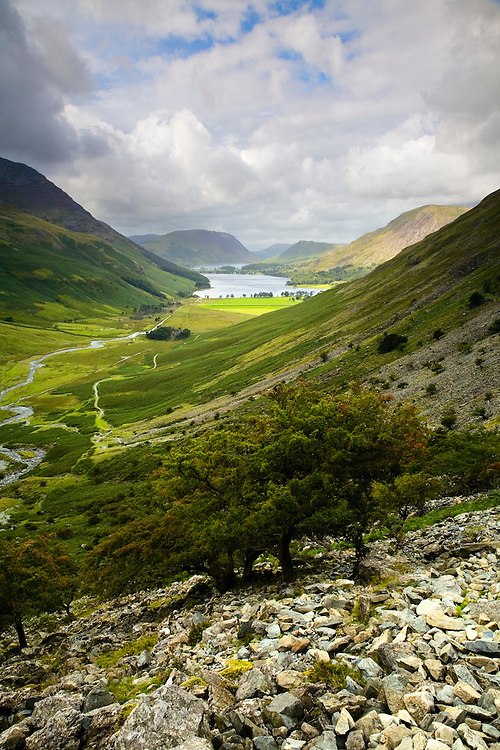 A stunning view of Buttermere with Crummock Water in the distance, taken while descending Haystacks via Fleetwith Pike.