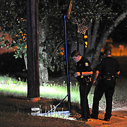 Troy police investigate a reported shooting on Brundidge Boulevard in Troy, Ala., early Sunday, Aug. 31, 2014.(Photo/Thomas Graning)