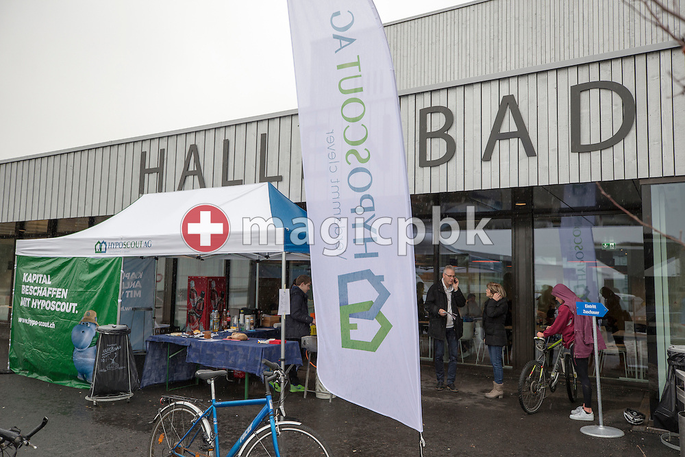 A marquee with HYPOSCOUT AG branding is seen in front of the entrance to the swimming pool Buchholz during the International Long Course Swim Meet Uster 2017 held at the Hallenbad Buchholz in Uster, Switzerland, Sunday, Feb. 5, 2017. (Photo by Patrick B. Kraemer / MAGICPBK)