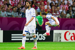 Giorgos Karagounis  of Greece protesting during the UEFA EURO 2012 group A match between  Greece and Russia at The National Stadium on June 16, 2012 in Warsaw, Poland.  Greece defeated Russia 1-0 and qualified to Quarterfinals. (Photo by Vid Ponikvar / Sportida.com)