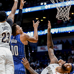 Oct 30, 2017; New Orleans, LA, USA; New Orleans Pelicans forward Anthony Davis (23) blocks a shot attempt by Orlando Magic forward Aaron Gordon (00) during the first quarter of a game at the Smoothie King Center. Mandatory Credit: Derick E. Hingle-USA TODAY Sports