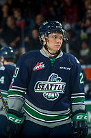 KELOWNA, CANADA - JANUARY 5: Zack Andrusiak #20 of the Seattle Thunderbirds stands on the ice against the Kelowna Rockets on January 5, 2017 at Prospera Place in Kelowna, British Columbia, Canada.  (Photo by Marissa Baecker/Shoot the Breeze)  *** Local Caption ***