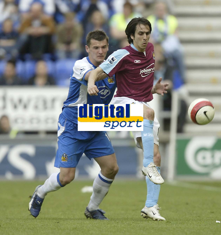 Photo: Aidan Ellis.<br /> Wigan Athletic v West Ham United. The Barclays Premiership. 28/04/2007.<br /> West Ham's Youssi Benayoun holds off Wigan's Lee McCulloch