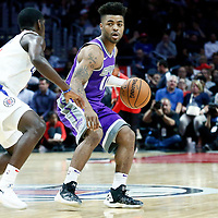 12 October 2017: Sacramento Kings guard Frank Mason III (10) looks to pass the ball during the LA Clippers 104-87 victory over the Sacramento Kings, at the Staples Center, Los Angeles, California, USA.