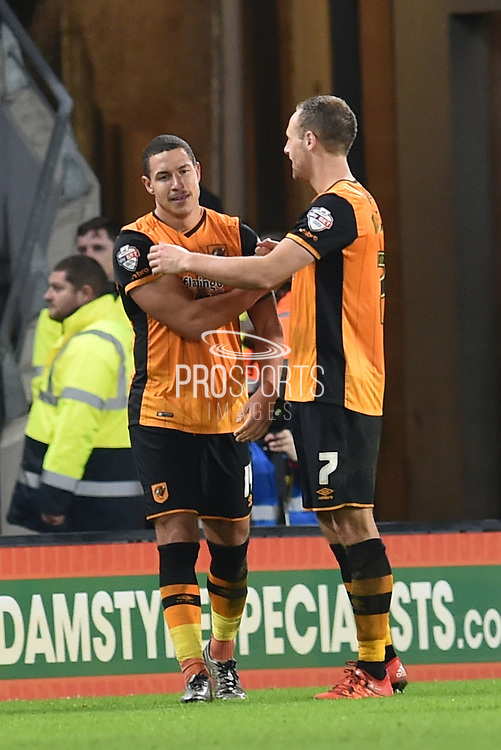 Jake Livermore of Hull City and Hull City midfielder David Meyler celebrate Jake Livermore of Hull City scoring to go 2-1 up  during the Sky Bet Championship match between Hull City and Reading at the KC Stadium, Kingston upon Hull, England on 16 December 2015. Photo by Ian Lyall.