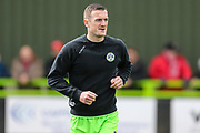 Forest Green Rovers Lee Collins(5) warming up during the EFL Sky Bet League 2 match between Forest Green Rovers and Exeter City at the New Lawn, Forest Green, United Kingdom on 4 May 2019.