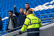 A Cardiff City fan taunts the Swansea fans after the game during the EFL Sky Bet Championship match between Cardiff City and Swansea City at the Cardiff City Stadium, Cardiff, Wales on 12 January 2020.