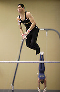 Army's Jonathan Hoey competes in the high bars during the 2012 West Point Gymnastics Open at Christl Arena on Friday, Jan. 27, 2012.