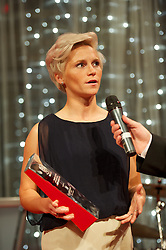 CARDIFF, WALES - Monday, October 8, 2012: Wales' Jessica Fishlock receives the Player of the Year award during the FAW Player of the Year Awards Dinner at the National Museum Cardiff. (Pic by David Rawcliffe/Propaganda)