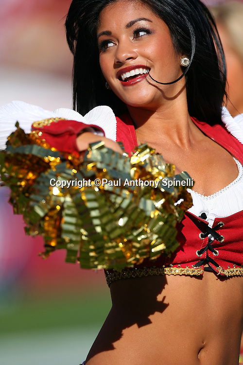 A San Francisco 49ers cheerleader smiles and does a dance routine during the NFL football game against the Tennessee Titans, November 8, 2009 in San Francisco, California. The Titans won the game 34-27. (©Paul Anthony Spinelli)