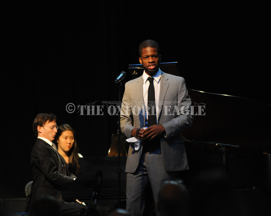 Singer Justin Hopkins and pianist Bruce Levingston perform an oratorio on Booker Wright, at the 17th annual Southern Foodways Symposium on Sunday, October 26, 2014. Wright was a waiter at Lusco's Restaurant in Greenwood during the civil rights era.