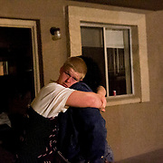 Dusin Menchue, 18, gets hugs by his neighbors after he called in for hotline for his suicidal thoughts. Menchue, is in CPS system after he was kick out by his family because he sexually abuse his siblings. Many of this teens become homeless after they get out from CPS system.