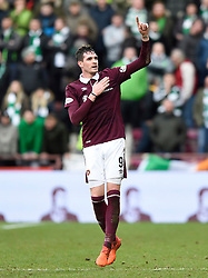 Hearts Kyle Lafferty celebrates scoring his side's second goal of the game during the Ladbrokes Scottish Premiership match at Tynecastle Stadium, Edinburgh.