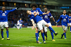 BOLTON, ENGLAND - Saturday, January 26, 2013: Everton's John Heitinga celebrates scoring a late winning second goal against Bolton Wanderers during the FA Cup 4th Round match at the Reebok Stadium. (Pic by David Rawcliffe/Propaganda)