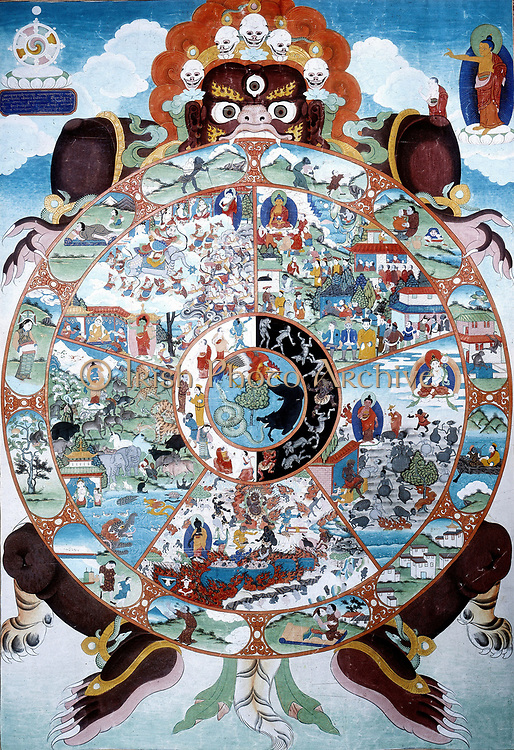 Tantric art. Bhavacalera: The Wheel of Life. Painting on cloth  y Rig-dgin Sikkrim.