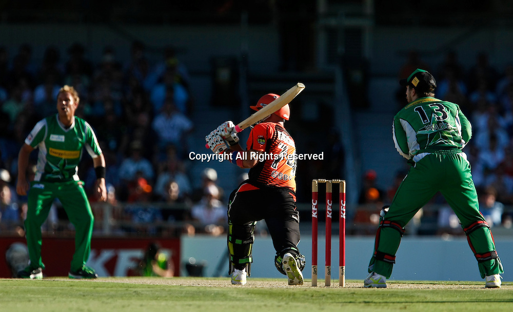 21.01.2012. Perth Australia. Big Bash Cricket.  Herschelle Gibbs sweeps Shane Warne in the Semi Final between the Perth Scorchers and Melbourne Stars.