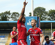 Ben Nakubuwai of Salford Red Devils celebrates scoring his try against Halifax RLFC during the Super 8s The Qualifiers match at Mbi Shay Stadium, Halifax<br /> Picture by Stephen Gaunt/Focus Images Ltd +447904 833202<br /> 02/09/2018