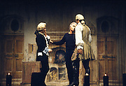 Giorgio Strehler (C), theatre director, during a rehearser of the play Arlecchino servitore di due padroni at Teatro dell'Arte in Milan, November 1976.