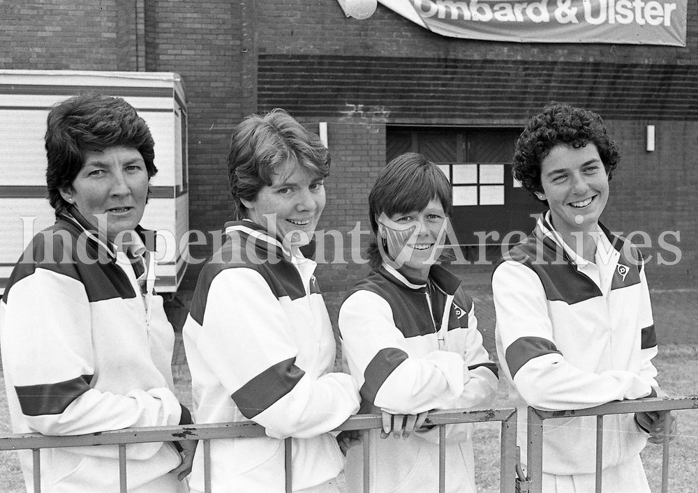 Federations Tennis Cup Team in Zurich (L-R) Helen Lennon(Captain), Siobhan Nicholson, Louise Tuff and Rhonda Howitt, 09/07/1983 (Part of the Independent Newspapers Ireland/NLI Collection).